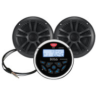 Boss Audio MCKGB350B.6 Combo - Marine Gauge Radio w/Marine Antenna  Speakers - Black