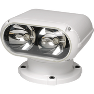 1MM Yacht Beam Searchlight 1 Million CD Remote-Controlled Searchlight (12/24V) Twin, 35-watt, Metal Halide HID lamps create a narrow-beam searchlight perfect for large sport yachts, mega-yachts, large sportfish and commercial vessels. Easy to fit and retrofit to improve safety at sea during night operation. Yacht Beam 1M Available with a retrofit kit allowing simple upgrade conversion from you current light to this high technology system. * A metal-halide lamp is an electrical lamp that produces light by an electric arc through a gaseous mixture of vaporized mercury and metal halides which are compounds of metals with bromine or iodine. It is a type of high-intensity discharge (HID) gas discharge lamp. The metal Halides improve the energy efficiency and color rendition of the light providing pure white light close to daylight frequencies. As a result, metal-halide lamps have high luminous efficacy of around 75–100 lumens per watt, which is about twice that of mercury vapor lights and 3 to 5 times that of incandescent lights and produce an intense white light. and are one of the most efficient sources of high CRI (color Rendering Index) white light. Turning night into day with precision control!