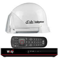 KING DISH Tailgater Satellite TV Antenna Bundle w/DISH Wally HD Receiver  Cables