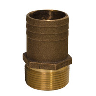 "GROCO 1"" NPT x 1-1/4"" Bronze Full Flow Pipe to Hose Straight Fitting"