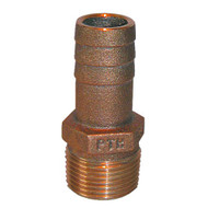"GROCO 1"" NPT x 1"" ID Bronze Pipe to Hose Straight Fitting"