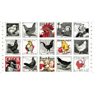 Fowl Play Hens & Chicks (small patch) Panel