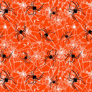 Spooky Night - Orange Spiders Halloween