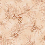 By Water's Edge - Pinecone Toile - Tan