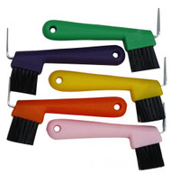 Color pack of 10 hoofpick with brush.
