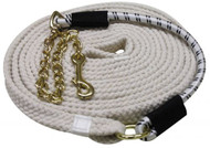 25' Long Flat Braided Cotton Lunge Line with Brass Chain and Bungee Tie
