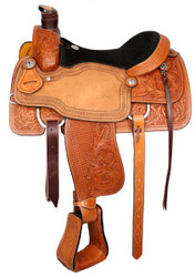 "15"", 16"", 17"" Basketweave And Floral Tooled Circle S Roping Saddle With Suede Leather Seat"