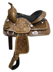 """13"""" Fully Tooled Double T Saddle With Suede Leather Seat"""