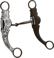 Showman Stainless Steel Snaffle Bit With Brown Steel Cheeks