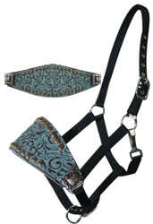 Showman™ Adjustable Bronc Style Halter with Filigree Print with Copper Colored Studs and Engraved Conchos
