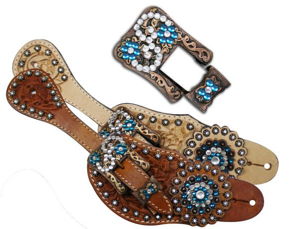Showman™ Ladies Tooled Leather Spur Straps with Vintage Style Buckle and  Blue Crystal Rhinestone Conchos