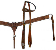 Showman™ Double Stitched Leather Headstall and Breast Collar Set