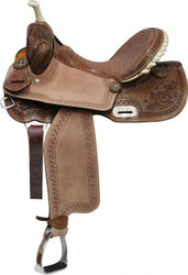"14"",15"", 16"" Double T Barrel Style Saddle with Brown Filigree Seat and Tooling"
