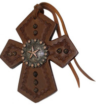 Showman ® Leather Tie On Cross with Raised Star Concho