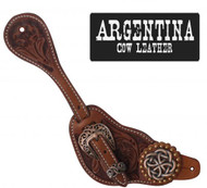 Showman® Mens Size Argentina Cow Leather Celtic Knot Spur Straps