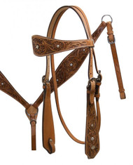 Double Stitched Leather Headstall and Breastcollar Set with Floral Tooling