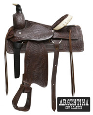 "16"" Buffalo Argentina Cow Leather Roper Style Saddle"