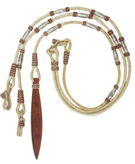 Showman ® Braided Natural Rawhide Romal Reins w/ Leather Popper