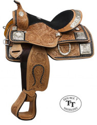 "12"" Double T Fully Tooled Youth / Pony Show Saddle with Silver"