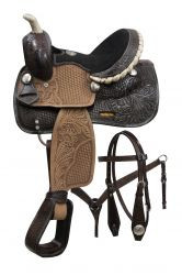 "10"" Double T pony saddle set with engraved silver conchos."