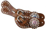 Showman ® Youth crystal rhinestone spur straps.