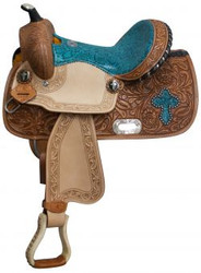 "13"" Double T Barrel style saddle with teal snake print seat and cross inlay."