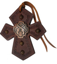 Showman ® Leather Tie On Cross with Crossed Guns Concho.