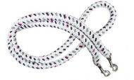 7' braided cotton multi-colored softy contest rein with heavy duty snaps