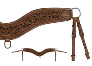 Showman ® Floral tooled leather tripping collar.
