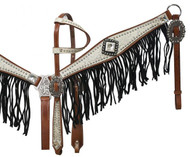 Showman ® Medium leather headstall and breast collar set with silver and white filigree overlay with black suede fringe.