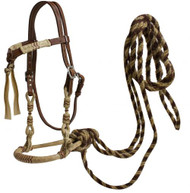 Showman ® leather futurity knot headstall w/rawhide braided bosal and horse hair mecate reins.