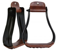 Showman ® Black steel western stirrups with leather tread.