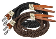 Showman ® rolled nylon split reins with leather poppers.