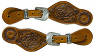 Showman ® Youth size floral tooled spur straps with crystal rhinestone buckles.