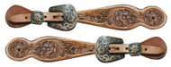 Showman ® Ladies size floral tooled spur straps with engraved antique brass buckles.