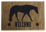 "27"" x 18"" Welcome mat with pleasure horse."