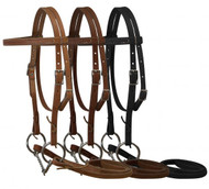 Double stitched pony bridle complete with twisted wire snaffle bit and reins. Made in the USA.