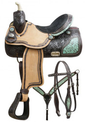 "15"", 16"" Double T barrel saddle set with teal filigree inlay."