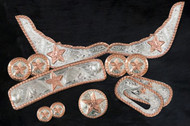 12 piece engraved copper star silver trim kit. Engraved silver plates and conchos accented with a copper trim and star.