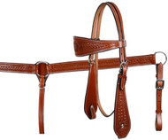 Medium Showman™ double stitched leather wide browband headstall and breast collar set with floral and basketweave tooling.