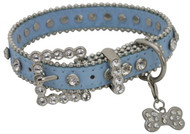 Showman Couture ™ Blue leather dog collar with crystal rhinestones.