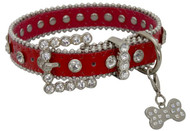 Showman Couture ™  Red leather dog collar with crystal rhinestones.