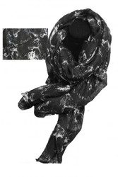 """70"""" X 40"""" Oversized soft, black voile scarf with white horse design."""
