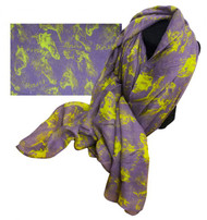 "70"" X 40"" Oversized soft, violet voile scarf with lime horse design."