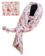 "70"" X 40"" Oversized soft, white voile scarf with red horse design."