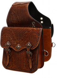 Showman ® Tooled leather saddle bag with antique copper hardware.
