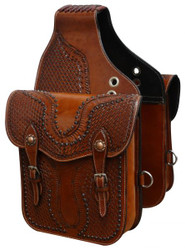 Showman ® Tooled leather saddle bag with antique copper hardware. SB-55