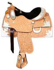 "16"" Showman™ Oak Leaf And Acorn Tooled Silver Show Saddle"