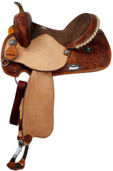 "14"", 15"", 16"" Double T Barrel Saddle with Turquoise Stone Conchos"