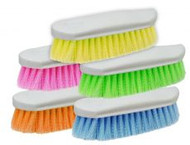 "Color pack of 10 stiff bristle brushes. Stiff bristles on an oval base. Measures 3"" wide and 9"" long. Shipped in packs of 10."